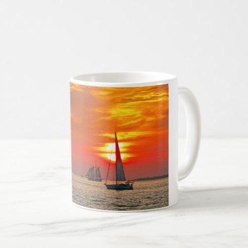 Sailboats at Key West, Florida, Sunset Coffee Mug
