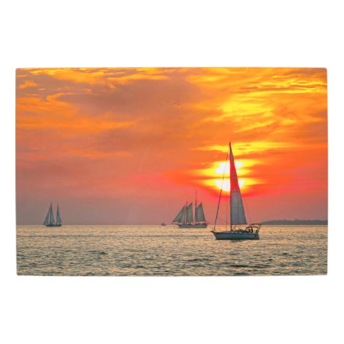 Sailboats at Key West, Florida, Sunset Metal Print