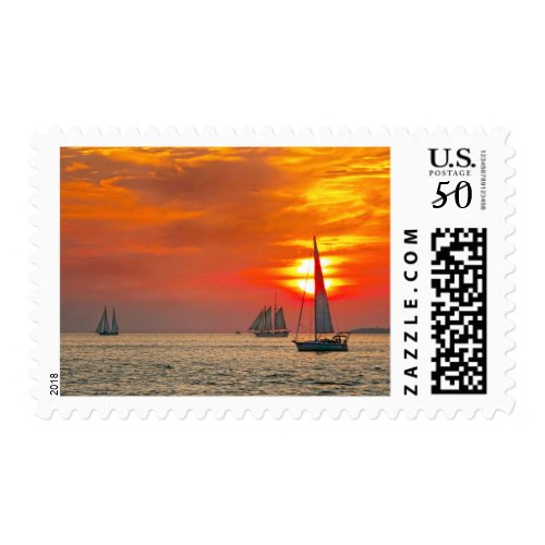 Sailboats at Key West Sunset Postage