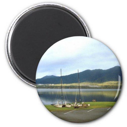 Sailboats at Lake Quinalt WA Photo Art Customize 2 Inch Round Magnet