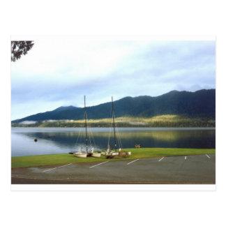 Sailboats at Lake Quinalt WA Photo Art Customize Postcards