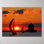Sailboats at sunset print