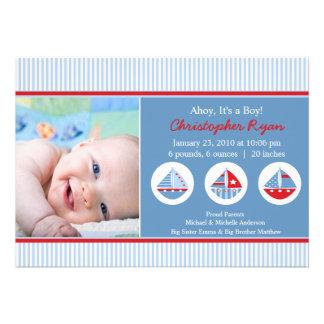 Sailboats Baby Boy Birth Annoucement Custom Invites