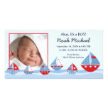 Sailboats Baby Boy Birth Annoucement Photo Card Template
