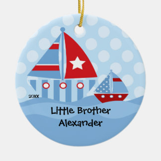 Sailboats Big Little Brother Christmas Ornament