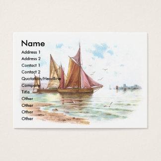 Sailboats by the Beach Victorian Trade Card