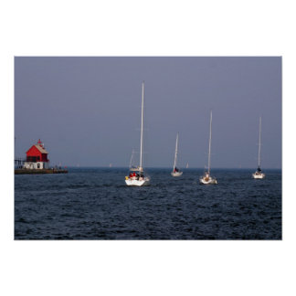 Sailboats down The Grand Haven Channel Poster