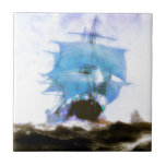 Sailboats, Dreams, Misty Morning Ceramic Tile