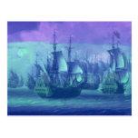 Sailboats, Dreams, Misty Morning Postcard