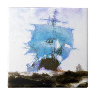 Sailboats, Dreams, Misty Morning Ceramic Tile