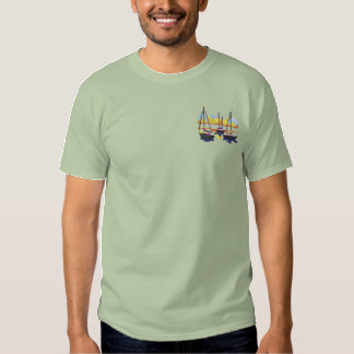 Sailboats Embroidered T-Shirt