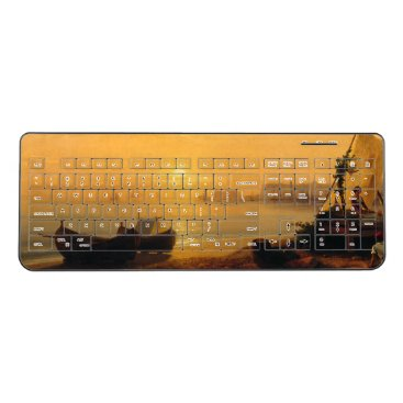 Beach Themed Sailboats Fishing Boats Beach Wireless Keyboard