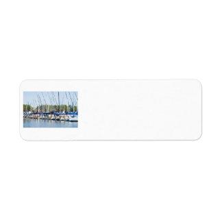 Sailboats in a marina label