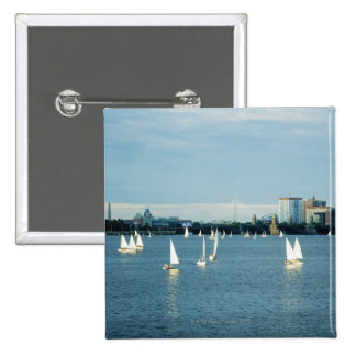 Sailboats in a river, Charles River, Boston, 2 Button