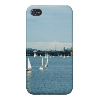 Sailboats in a river, Charles River, Boston, 2 iPhone 4 Case