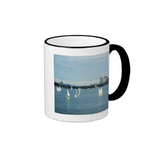 Sailboats in a river, Charles River, Boston, 2 Ringer Mug