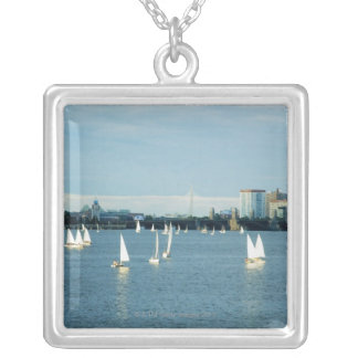 Sailboats in a river, Charles River, Boston, 2 Silver Plated Necklace