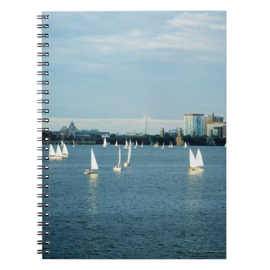 Sailboats in a river, Charles River, Boston, 2 Spiral Notebook
