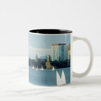 Sailboats in a river, Charles River, Boston, 2 Two-Tone Coffee Mug