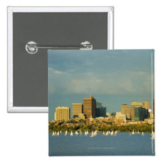 Sailboats in a river, Charles River, Boston, Button