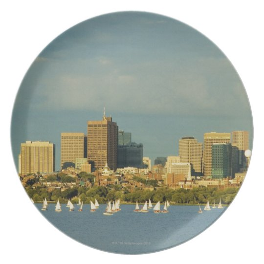 Sailboats in a river, Charles River, Boston, Dinner Plate