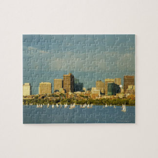 Sailboats in a river, Charles River, Boston, Jigsaw Puzzle