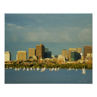 Sailboats in a river, Charles River, Boston, Poster