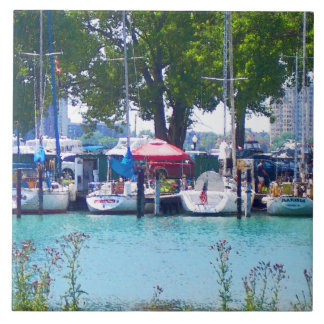 Sailboats In Dock Large Square Tile