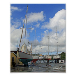 Sailboats in Dry Dock in Antigua Canvas Print