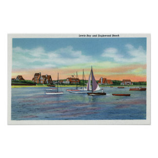 Sailboats in Lewis Bay Englewood Beach View Print