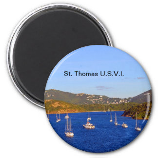 Sailboats in St. Thomas Harbor Refrigerator Magnet