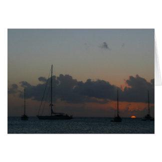 Sailboats in Sunset Card
