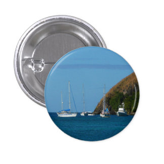 Sailboats in the Bay White and Blue Nautical Pinback Button