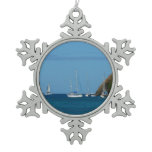 Sailboats in the Bay White and Blue Nautical Snowflake Pewter Christmas Ornament