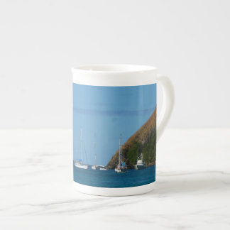 Sailboats in the Bay White and Blue Nautical Tea Cup