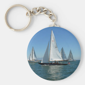 Sailboats in the Harbor Keychain