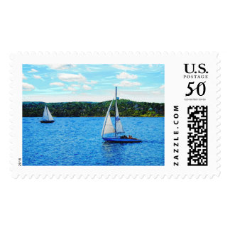 Sailboats In The Summer Postage