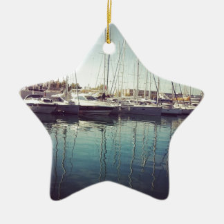 Sailboats in Water Christmas Ornament