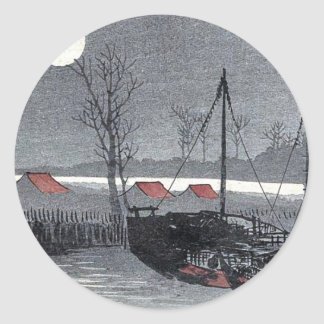 Sailboats moored under the moon by Uehara, Konen Classic Round Sticker