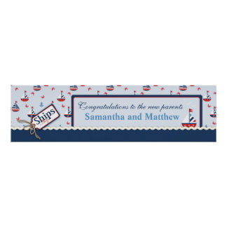Sailboats Nautical Baby Shower Banner Poster