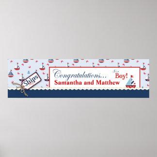 Sailboats Nautical Baby Shower Banner Print