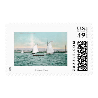 Sailboats off Alameda BeachAlameda, CA Postage Stamp