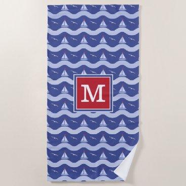 Beach Themed Sailboats On A Striped Sea Pattern Beach Towel