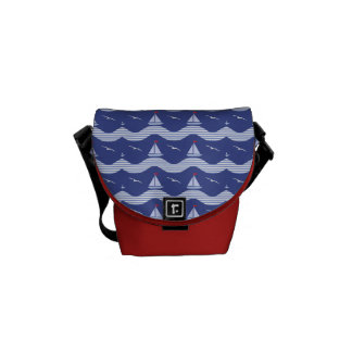 Sailboats On A Striped Sea Pattern Messenger Bag
