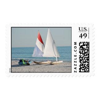 Sailboats on Beach Postage