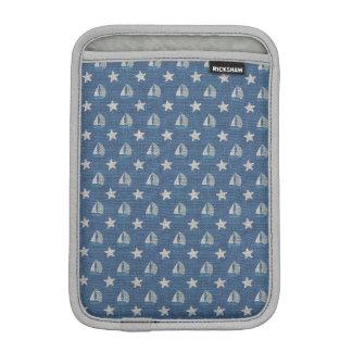 Sailboats on Blue Linen Sleeve For iPad Mini
