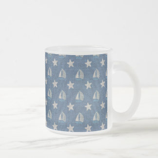Sailboats on Blue Linen 10 Oz Frosted Glass Coffee Mug