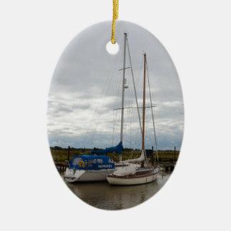 Sailboats On The River Blythe Ceramic Ornament