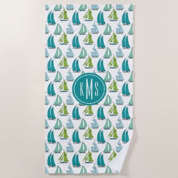 Beach Themed Sailboats On The Water Pattern Beach Towel
