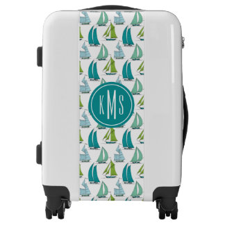 Sailboats On The Water Pattern| Monogram Luggage